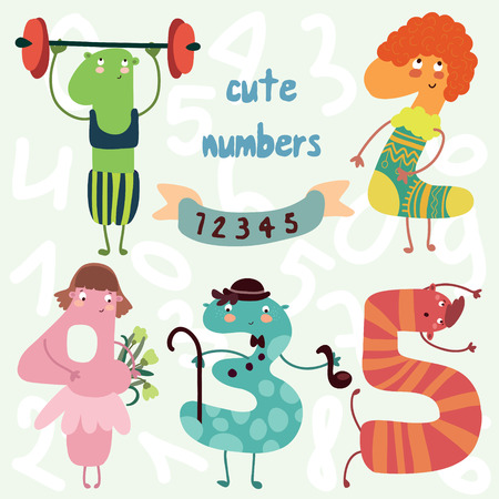 8 9: Vector set-cute numbers.All numbers are very cute characters 6,7,8,9,0