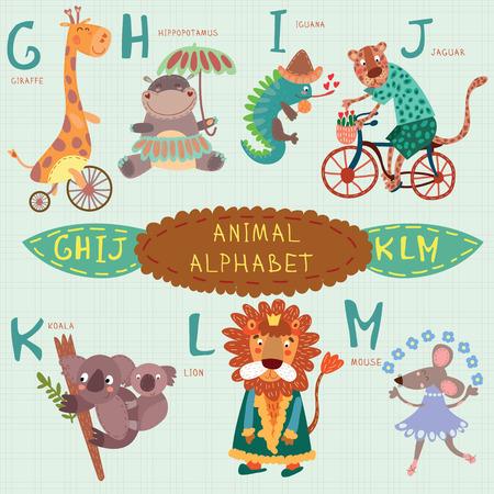 Alfabeto lindo animal. G, H, I, J, K, L, M letras. Jirafa, hipopótamo, la iguana, el jaguar, koala, león, diseño mouse.Alphabet en un estilo colorido. Ilustración de vector