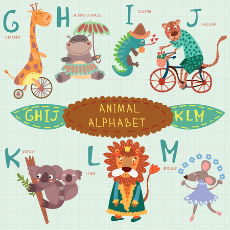 Cute animal alphabet. G, h, i, j, k, l, m letters. Giraffe, hippopotamus, iguana, jaguar, koala, lion, mouse.Alphabet design in a colorful style.