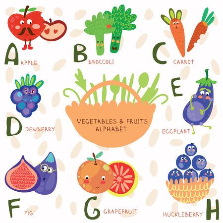 Vector illustratie van groenten en fruit. A, b, c, d, e, f, g, h letters. Appel, broccoli, wortelen, dauwbraam, bijvoorbeeld gplant, vijgen, grapefruit, Huckleberry. Alfabet ontwerp in een kleurrijke stijl.