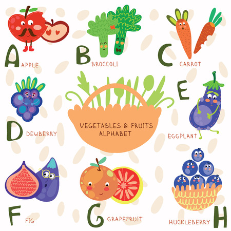 Vector illustration of fruit and vegetables. A, b, c, d, e, f ,g,h letters. Apple, broccoli, carrots,dewberry,eg gplant, figs, grapefruit, huckleberry. Alphabet design in a colorful style.
