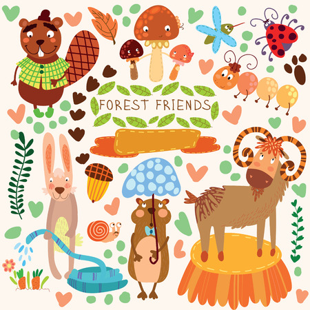 Vector Set of Cute Woodland and Forest Animals.Gopher,beaver, goat, ant, ladybug, rabbit, mosquito, snail.(All objects are isolated groups so you can move and separate them Ilustracja