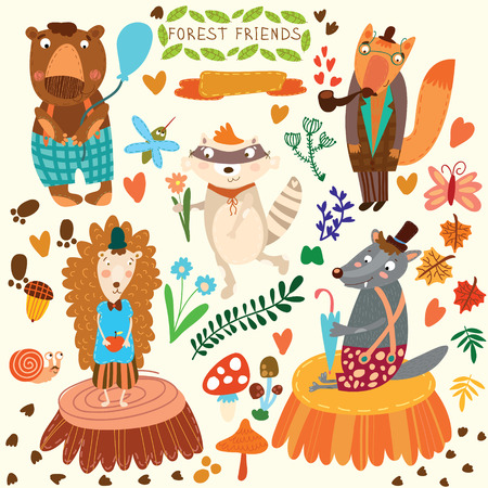 かわいい森と森の動物のベクトルを設定します。熊、ハリネズミ、キツネ、オオカミ、アライグマ、蚊、カタツムリ、蝶。(すべてのオブジェクトが