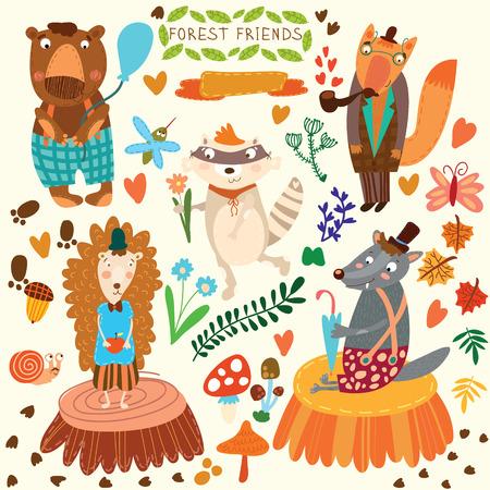 Vector Set van Cute Woodland en Forest Animals. Beer, egel, vos, wolf, wasbeer, muggen, slak, vlinder. (Alle voorwerpen zijn geïsoleerde groepen, zodat u kunt bewegen en hen te scheiden)