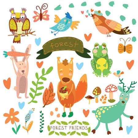 かわいいウッドランドの設定と森林 Animals.Squirrel,rabbit、ナイチンゲール, カエル, 鹿, フクロウ、鳥、蝶をベクトルします。(すべてのオブジェクトが  イラスト・ベクター素材