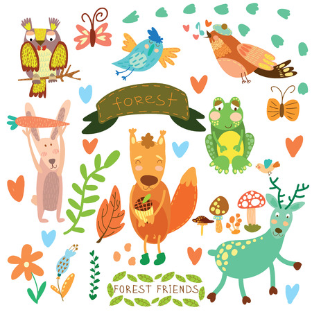 Vector Set of Cute Woodland and Forest Animals.Squirrel,rabbit, nightingale, frog, deer, owl, bird, ,butterfly.(All objects are isolated groups so you can move and separate them)