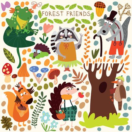 かわいい森と森の動物のベクトルを設定します。リス、カエル、キツツキ、ハリネズミ、オオカミ、アライグマ、蝶(すべてのオブジェクトが孤立し