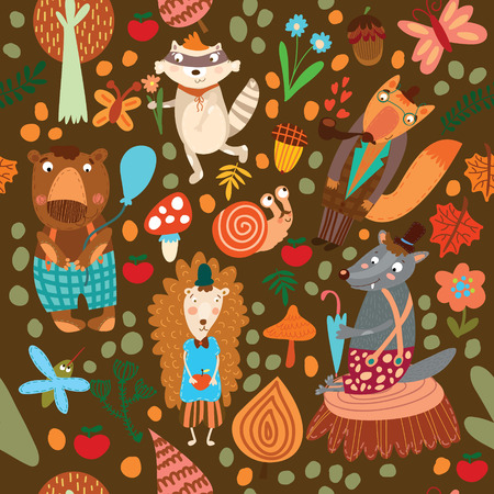 Seamless pattern with forest animals. Bear, fox, hedgehog, raccoon, wolf,snail,mosquito  イラスト・ベクター素材