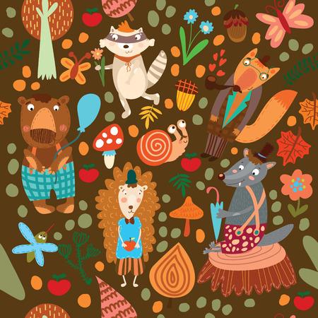 Seamless pattern with forest animals. Bear, fox, hedgehog, raccoon, wolf,snail,mosquito Ilustração