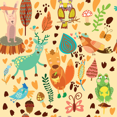 Cute seamless pattern with forest animals.Owl,squirre l, deer, nightingale, frog,rabbit. 矢量图像