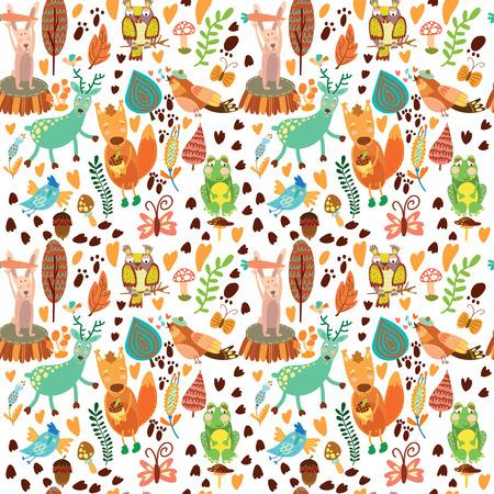 森林動物とかわいいのシームレスなパターン。フクロウ、squirre l、鹿、ナイチンゲール、カエル、ウサギ。