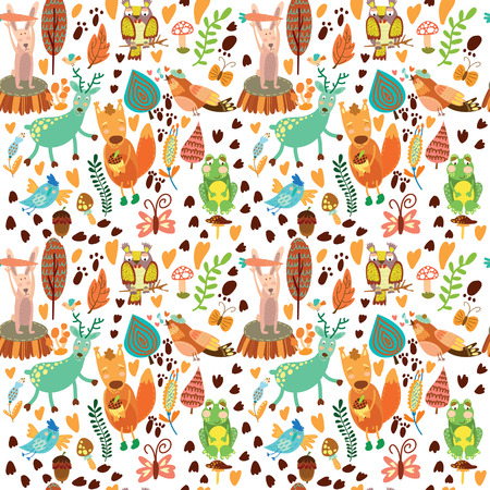 Cute seamless pattern with forest animals.Owl,squirre l, deer, nightingale, frog,rabbit. Ilustração