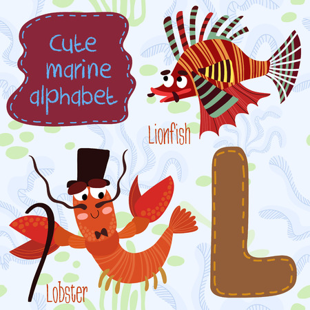 lionfish: Sea very cute  Alphabet. Alphabet design in a colorful style. Illustration