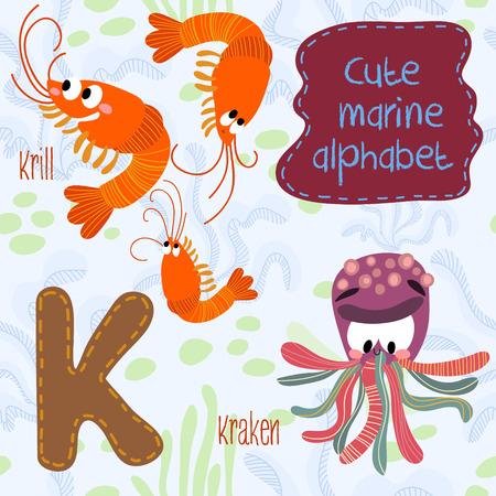 krill: Sea very cute  Alphabet. Alphabet design in a colorful style. Illustration