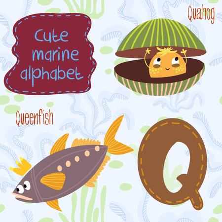 Sea very cute  Alphabet. Alphabet design in a colorful style. Vector