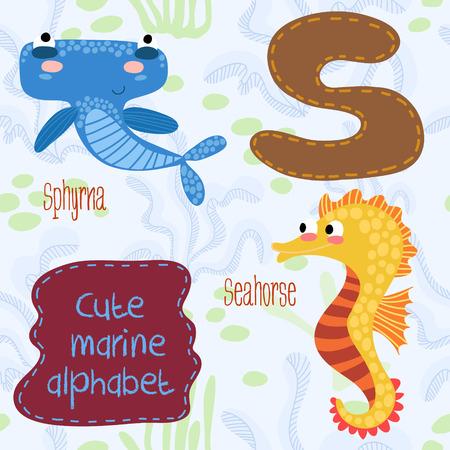 Sea very cute  Alphabet.Alphabet design in a colorful style.