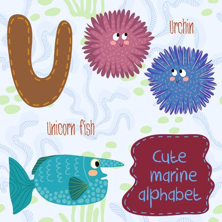 Sea very cute  Alphabet.Alphabet design in a colorful style. Vector