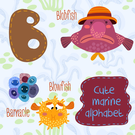 barnacle: Sea very cute  Alphabet.Alphabet design in a colorful style.