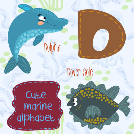 sea fish: Sea very cute  Alphabet.Alphabet design in a colorful style.