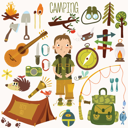 camp: Bright camping equipment icon set in vector.