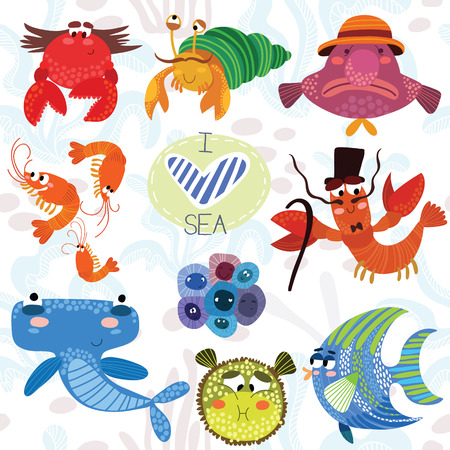 Sea collection.Bright hand drawn illustration in cute style.