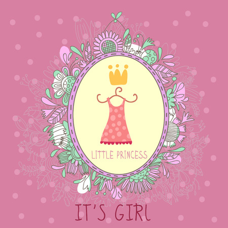 Baby Girl Shower and Arrival Card with girls attributes.With place for your foto and text in vector. Vector