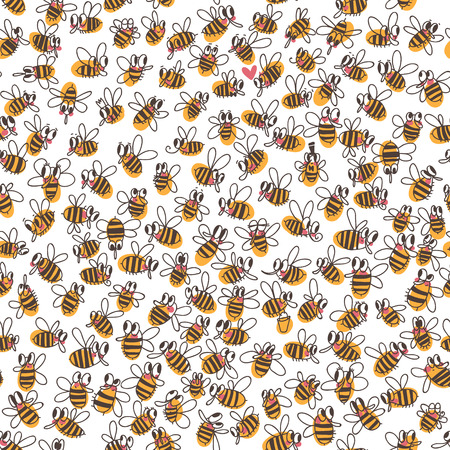 Vector seamless pattern with bees. Use it as pattern fills, web page background, surface textures, fabric or paper, backdrop design. Summer template.