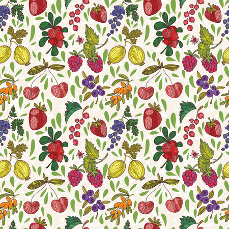 bilberry: Colorful berries vector seamless pattern. Raspberry, bilberry, cherry,cowberry,black currant, strawberry, sea buckthorn, blackberry,grapes and gooseberry.Can be used for wallpaper, pattern fills, web page background,surface textures
