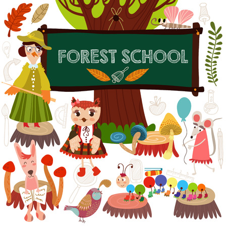 Vector Set of Cute Woodland and Forest Animals in School.  Crow, fox, hare, millipede, mouse, butterfly.(All objects are isolated groups so you can move and separate them)