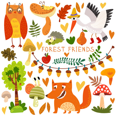 Vector Set of Cute Woodland and Forest Animals. Owl, fox, snail, crane,hedgehog, snail, worm.(All objects are isolated groups so you can move and separate them) Ilustração