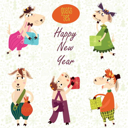 fife: Fife cute goats with gifts. Funny New Year set in vector. Childish concept illustration