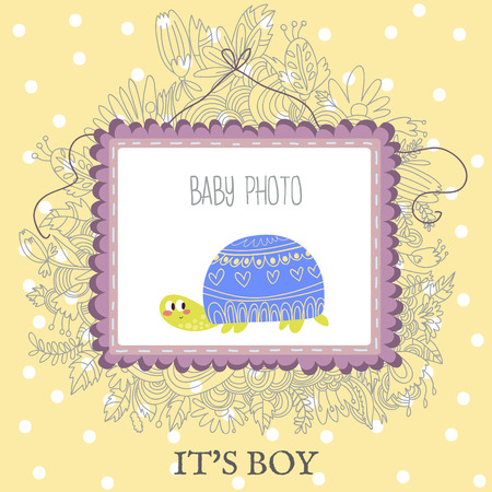 tortuga caricatura: La ducha del bebé y de llegada Tarjeta con lindo lugar turtle.With para su foto y texto en el vector. Vectores
