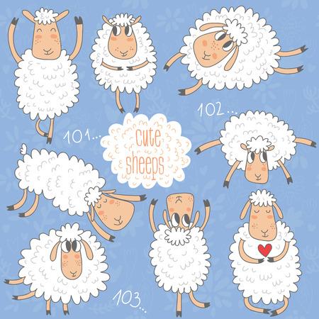 Cute cartoon sheeps-vector set