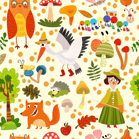 Autumn seamless pattern with forest animals: fox, stork, hedgehog,cuckoo,owl and other. .Can be used for wallpaper, pattern fills, web page background,surface textures Vector