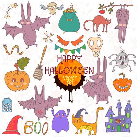 Happy Halloween  set of Doodles cute Halloween Elements Vector