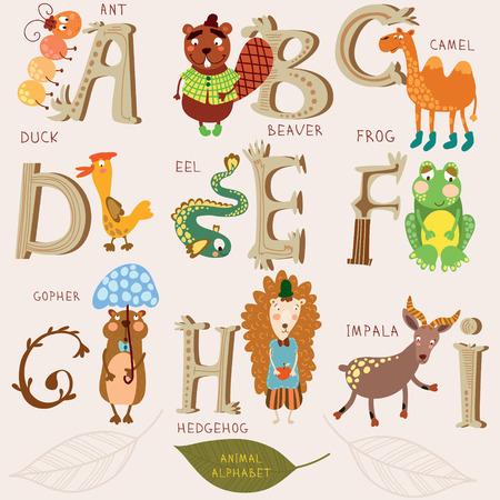 castor: Alfabeto lindo animal. A, b, c, d, e, f, g, h, i letras. Ant, castor, camello, pato, anguila, rana, gopher, hendehog, impala. Diseño del alfabeto en un estilo retro.