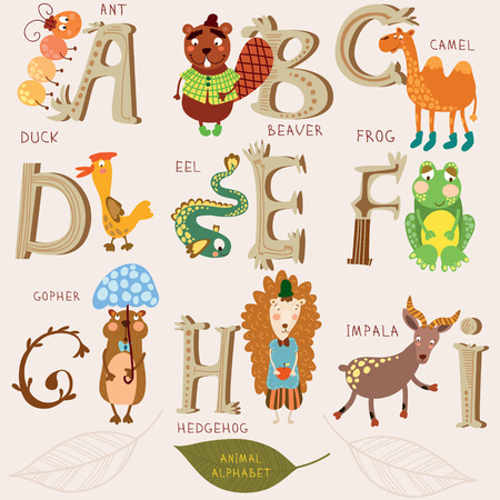 cartoon camel: Cute animal alphabet. A, b, c, d, e, f, g, h, i letters. Ant, beaver, camel, duck, eel, frog,gopher,hendehog,impala. Alphabet design in a retro style. Illustration