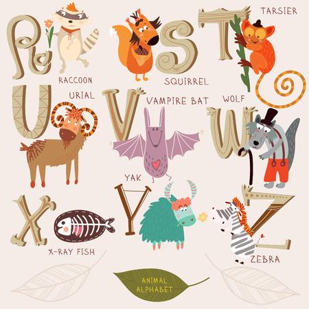 Leuk dier alfabet. R, s, t, u, v, w, x, y, z letters. Wasbeer, eekhoorn, Tarsier, urial, vampier, wolf, x-ray vis, yak, zebra. Alfabet ontwerp in een retro stijl.