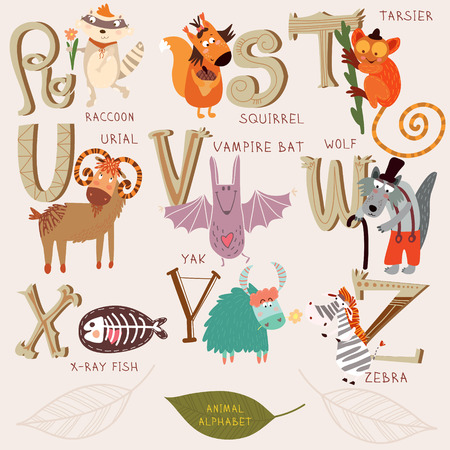Cute animal alphabet. R, s, t, u, v, w, x, y, z letters. Raccoon, squirrel, tarsier, urial, vampire bat, wolf, x-ray fish, yak, zebra. Alphabet design in a retro style. Illustration