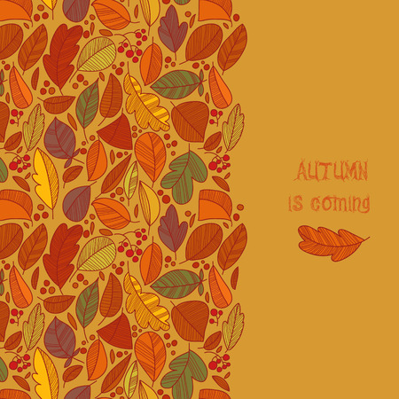 Vector autumn doodles card. Stylish Hand draw leafs in bright colors