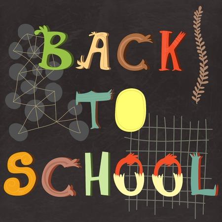 semester: Back to school lettering on vector chalkboard, school background illustration. Greeting card. School cartoon hand lettering in bright colors. Illustration