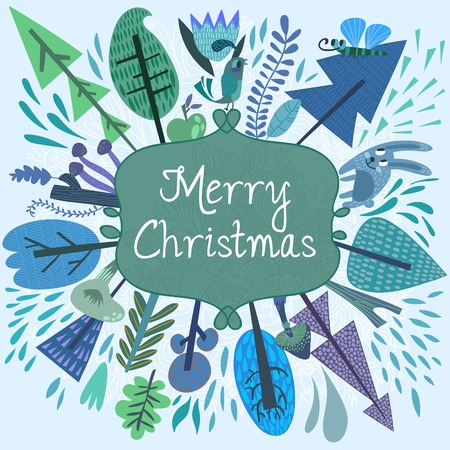 Merry christmas card with forest elements - bird, mushrooms, trees and flowers. Vector holiday background. Happy new year invitation card design  イラスト・ベクター素材