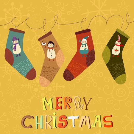 vamp: Merry Christmas card in vector  with cute socks and cartoon snowmans.Stylish holiday background.Vector holiday background. Happy new year