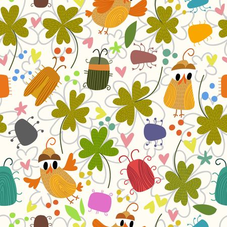 brings: St. Patrick`s day background.Lucky seamless pattern with clover, birds and bugs.This card brings good luck. Bright Seamless pattern can be used for wallpaper, pattern fills, web page background,surface textures.