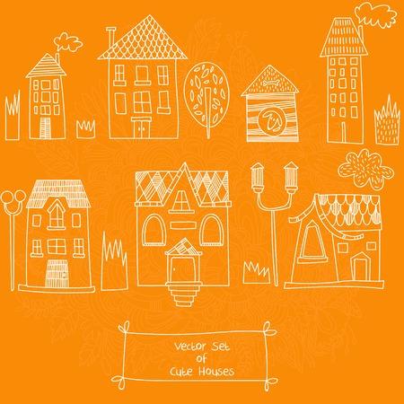 roof line: Vector conjunto de casas lindas. Bocetos de casas. Ilustraci�n vectorial Vectores