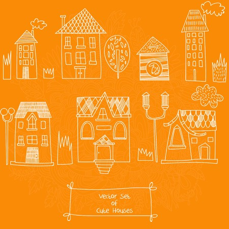 simple life: Vector set of Cute Houses. Sketches of houses. Vector illustration