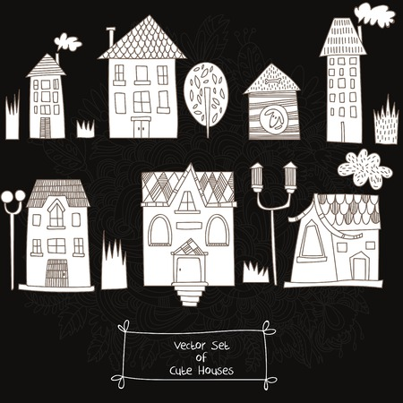 building sketch: Vector set of Cute Houses. Sketches of houses on chalkboard