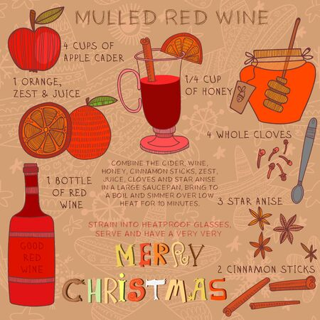 wine book: Christmas Recipe of Hot red drink- mulled wine with  spices: honey,whole cloves, anise and cinnamon sticks.