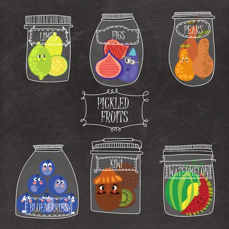 conserved: Pickled fruits  in vector set -  limes, figs, pears, blueberries, watermelon, kiwi.