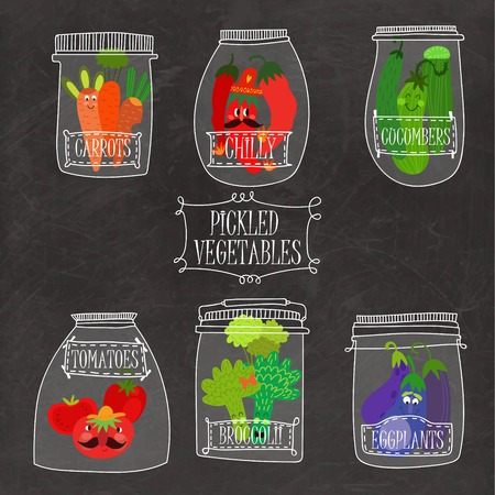 cucumbers: Pickled vegetables in vector set - carrots, chilly, cucumbers, tomatoes, broccoli, eggplants.